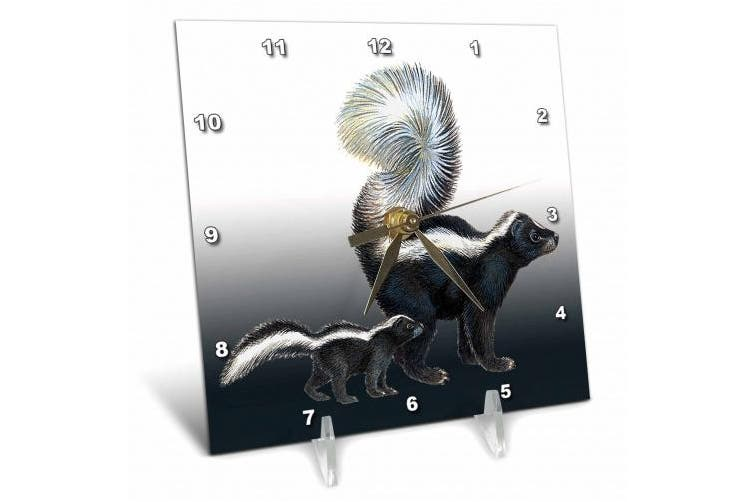 3dRose Momma Skunk and Her Baby On a Gradient Blue Grey Background, Desk Clock, 15cm by 15cm