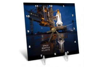3dRose Astronauts and Rockets - Space Shuttle Atlantis , Desk Clock, 15cm by 15cm