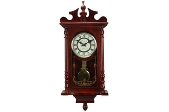 Bedford Collection Redwood Finish 60cm Wall Clock with Pendulum and Chime