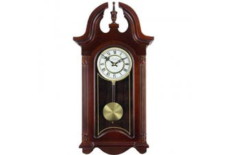 Bedford Clock Collection 70cm Colonial Mahogany Cherry Oak Finish Chiming Wall Clock with Roman Numerals