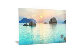 (28x12) - Design Art Sunrise Panorama-Photography Metal Wall Art-MT6413-28x12, Blue, 28x12