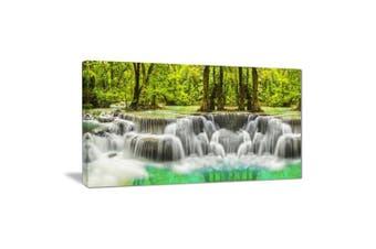 (28x12) - Design Art Erawan Waterfall Kanchanaburi Province-Metal Wall Art-MT7093-28x12, 28x12