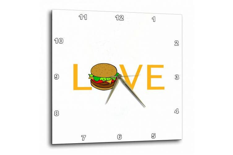 3dRose Love Burgers - yellow text with hamburger O - food foodie typography, Wall Clock, 33cm by 33cm