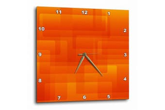 3dRose Bright Orange On Orange Rounded Rectangles Abstract, Wall Clock, 33cm by 33cm