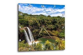 3dRose Wailua Falls and scenery on the Hawaiian island of Kauai, Wall Clock, 38cm by 38cm