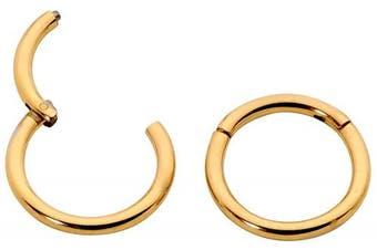 (13mm Yellow) - 1 Pair Stainless Steel 18G (Thin) Hinged Segment Ring Hoop Sleeper Earrings Body Piercing 5mm / 6mm / 7mm / 8mm / 9mm / 10mm / 11mm / 12mm / 13mm