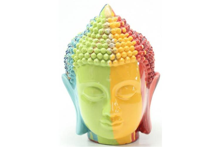 Rainbow 17cm (H) Colourful Shakyamuni Meditating Buddha Head Figurines Peace Luck Prosperity Statues Home Decor