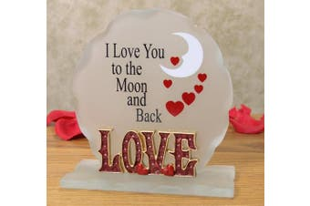 I Love You To The Moon and Back Frosted Glass Decoration