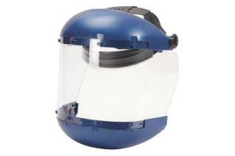 (Uncoated - Ratchet Headgear) - Sellstrom S38110 Blue Plastic Crown/Chin Guard Protective Grinding Face Shield with Clear Acetate Window, Ratchet Headgear, Uncoated
