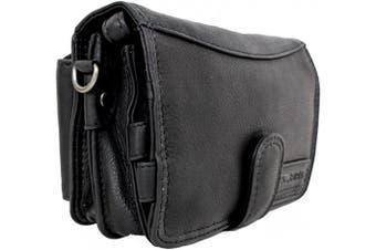 (Black) - Hill Burry 3172 leather wrist bag, men's organiser, handbag, travel wallet, small bag, ladies' shoulder bag, travel wallet, document bag, vintage, genuine leather, black
