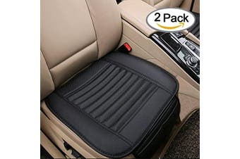 CYBER WEEK Breathable 2pc Car Interior Seat Cover Cushion Pad Mat for Auto Supplies Office Chair with PU Leather Bamboo Charcoal (Black)