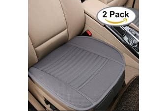 Breathable 2pc Car Interior Seat Covers Cushion Pad Mat for Auto Supplies Office Chair with PU Leather Bamboo Charcoal(Grey)
