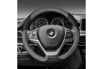 FH GROUP Perforated Genuine Leather Steering Wheel Cover, Grey and Black