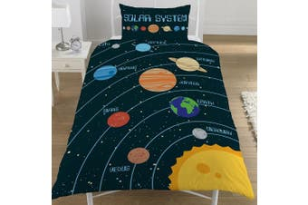 (Single Duvet Cover) - Solar System Planets Single/Double Reversible Duvet Cover Bed Set Space (Single Duvet Cover)