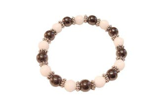 (White Jade) - Colourful 8mm Magnetic Hematite Healing Stretch Bracelet Arthritis Migraines Headaches - Choice of Colour - Approx 19cm