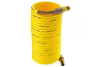 Amflo 4-12 Yellow 200 PSI Nylon Recoil Air Hose 0.6cm x 3.7m With 0.6cm MNPT Swivel End Fittings