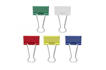 (Medium Size, Assorted Color) - Officemate Medium Binder Clips, Assorted Colours, 24 Clips per Tub (31029)