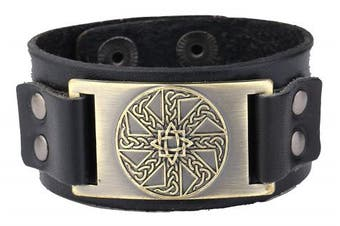 (Antique Gold,Black) - Vintage Irish Knot Slavic Wicca Norse Runes Charm Cuff Adjustable Leather Bracelets