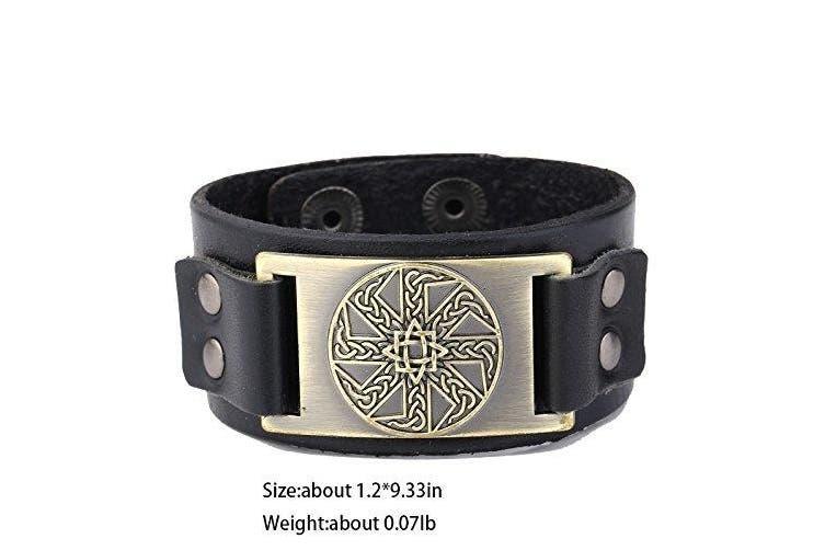 (Antique Gold,Black) - Vintage Irish Knot Slavic Wicca Norse Runes Charm Cuff Adjustable Leather Bracelets