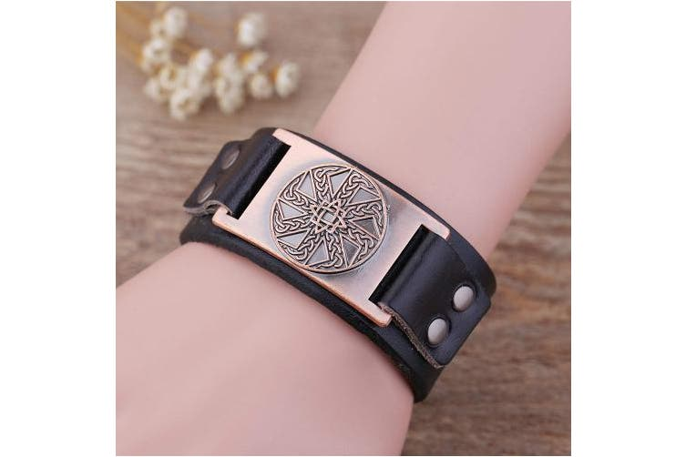 (Antique Copper,Black) - Vintage Irish Knot Slavic Wicca Norse Runes Charm Cuff Adjustable Leather Bracelets