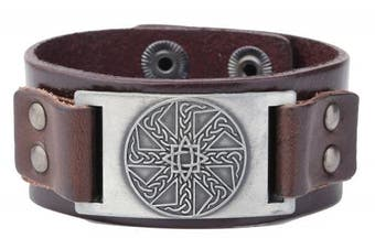 (Antique Silver,Brown) - Vintage Irish Knot Slavic Wicca Norse Runes Charm Cuff Adjustable Leather Bracelets