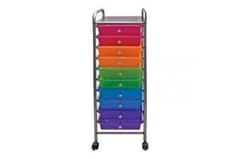 (10 Drawers, Multi-colored) - Advantus 10-Drawer Rolling Organiser, 37.6 x 33cm x 39cm , Multi-Coloured (AVT34004)