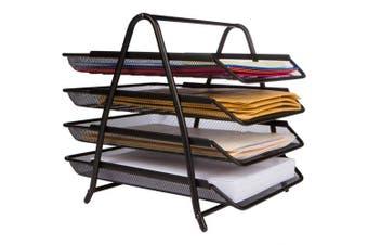 4-Letter Tray Office Desk Organiser, Black