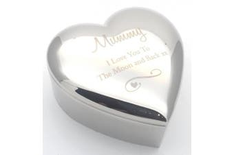 MUMMY I LOVE YOU TO THE MOON & BACK Silver finish TRINKET BOX Gift Gifts Presents Ideas for my Birthday Christmas Mothers Day