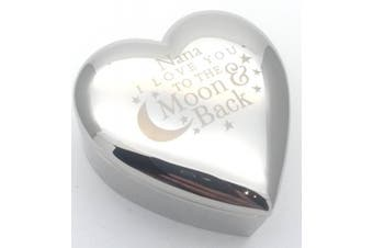 NANA I LOVE YOU TO THE MOON & BACK Silver finish TRINKET BOX Gift Gifts Presents Ideas for Birthday Christmas Mothers Day