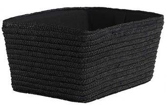 (Black) - Compactor Hand-Woven Straw Storage Basket, With Fabric Lining, Black, 32 x 22 x 22 x H. 14 cm, RAN7393, Wheat Braid