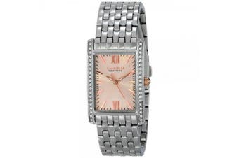 Caravelle Ny Women's Silver-Tone Steel Rose-Tone Dial Crystal Encrusted Bezel Movement: Quartz