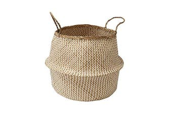 (Large, Natural/White) - Compactor Belly Large Woven Seagrass Storage Basket 45 x 45 x 36cm, Natural/White