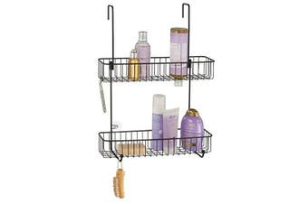(Matte Black) - mDesign Bathroom Over Door Wide Shower Caddy for Shampoo, Soap, Loofahs - 2 Tier, Matte Black