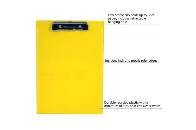 (Neon Yellow) - Saunders Plastic Clipboard with Low Profile Clip, Neon Yellow, Letter Size, 22cm x 30cm , 1 Clipboard (21595)