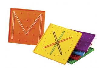 School Smart Double Sided Geoboard with Rubber bands