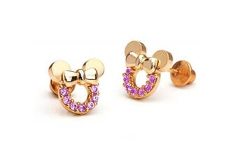 Findout rose gold plated sterling silver Cubic Zircons Amethyst hollow Mickey Mouse earrings .for women girls (f1782)
