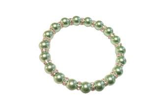 (Aquamarine) - Imitation Pearl with Diamante Rhinestone Spacers Stretch Bracelet - Choice of Colour - Approx 19cm