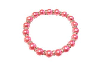 (Hot Pink) - Imitation Pearl with Diamante Rhinestone Spacers Stretch Bracelet - Choice of Colour - Approx 19cm