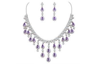 (Purple) - TENYE Women's Cubic Zirconia Gorgeous Water Drop Dangle Necklace Earrings Set Silver-Tone
