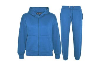 (Turquoise, 9 - 10 Years) - a2z4kids A2Z 4 Kids® Kids Girls Boys Plain Tracksuit Hooded Hoodie Bottom Jogging Suit Joggers New Age 2 3 4 5 6 7 8 9 10 11 12 13 Years