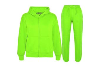(Neon Green, 9 - 10 Years) - a2z4kids A2Z 4 Kids® Kids Girls Boys Plain Tracksuit Hooded Hoodie Bottom Jogging Suit Joggers New Age 2 3 4 5 6 7 8 9 10 11 12 13 Years