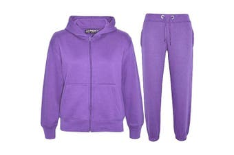 (Lilac, 5 - 6 Years) - a2z4kids A2Z 4 Kids® Kids Girls Boys Plain Tracksuit Hooded Hoodie Bottom Jogging Suit Joggers New Age 2 3 4 5 6 7 8 9 10 11 12 13 Years