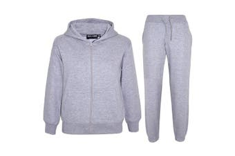 (Grey, 7 - 8 Years) - a2z4kids A2Z 4 Kids® Kids Girls Boys Plain Tracksuit Hooded Hoodie Bottom Jogging Suit Joggers New Age 2 3 4 5 6 7 8 9 10 11 12 13 Years