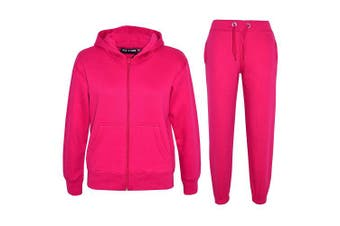 (Pink, 7-8 Years) - a2z4kids A2Z 4 Kids® Kids Girls Boys Plain Tracksuit Hooded Hoodie Bottom Jogging Suit Joggers New Age 2 3 4 5 6 7 8 9 10 11 12 13 Years