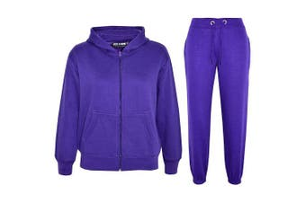 (Purple, 5 - 6 Years) - a2z4kids A2Z 4 Kids® Kids Girls Boys Plain Tracksuit Hooded Hoodie Bottom Jogging Suit Joggers New Age 2 3 4 5 6 7 8 9 10 11 12 13 Years