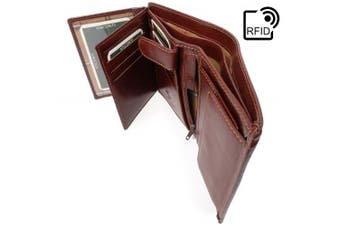 (Brown-RFID) - Visconti Wallet - MZ3 MILAN - Italian Style Leather - GIFT BOXED