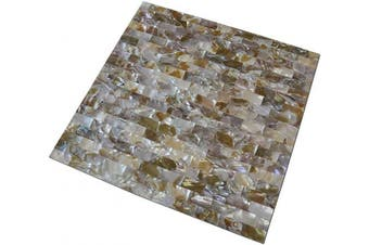 (1 sheet, A04 Peel and Stick) - Art3d Peel and Stick Mother of Pearl White Shell Mosaic Tile for Kitchen Backsplashes, Bathroom Walls, Spas, Pools, 30cm x 30cm