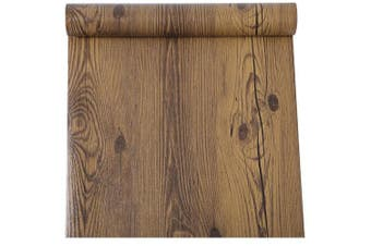 Rustic Dark Walnut Wood Grain Contact Paper Self Adhesive Vinyl Shelf Liner for Kitchen Cabinets Countertop Table Desk Furniture Decor 60cm by 4.9m