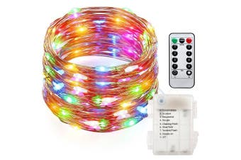 (Multicolor) - AndThere 10M/33ft 8 Modes 100 LED Waterproof Starry Copper Wire String lights with Remote and Timer Control,Battery Powered Fairy Lights for Kids Girls Bedroom / Garden / Indoor / Outdoor Decoration ( Multicolor )