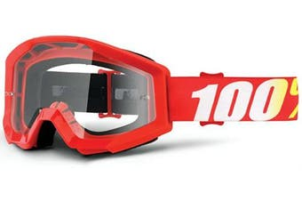 (Flame Red/Clear Lens) - 100% Strata Unisex Enduro Goggles